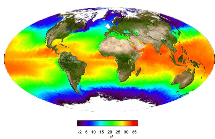 Température des eaux de surface en 2001. Image provenant d'un satellite.